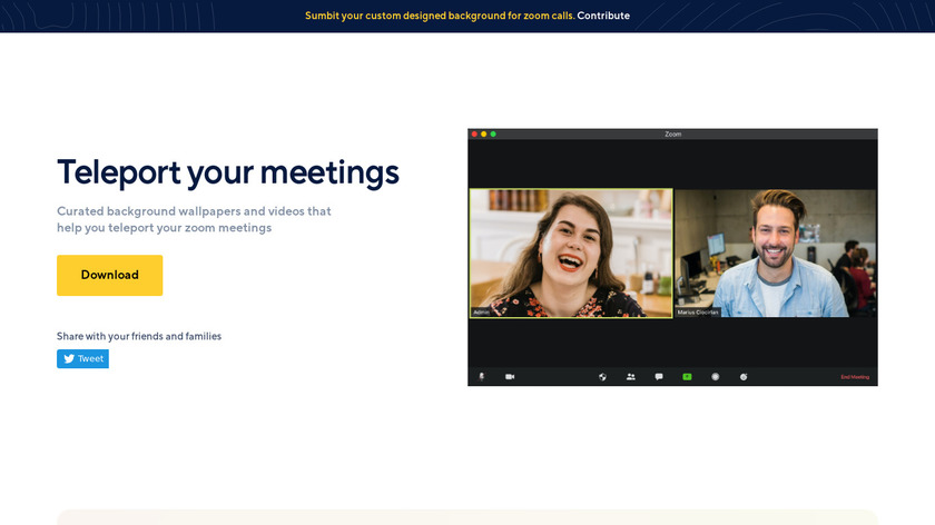 Teleport Meetings Space Landing Page