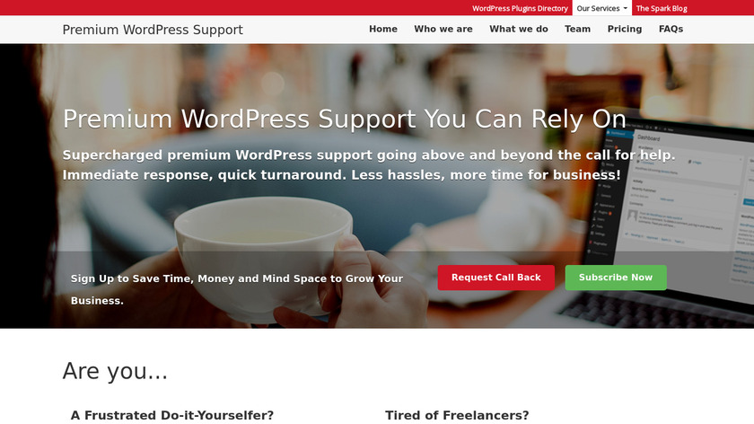 Plugmatter WordPress Support Service Landing Page