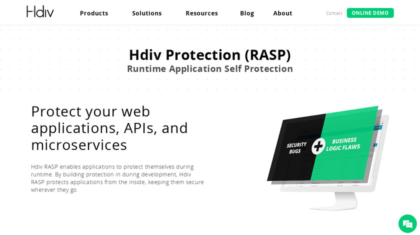 Hdiv Protection (RASP) Landing Page