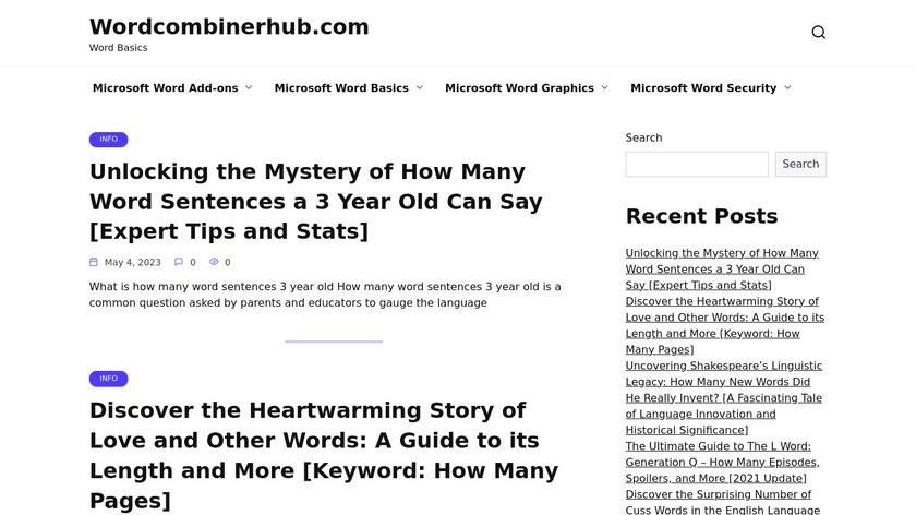 Word Combiner hub Landing Page