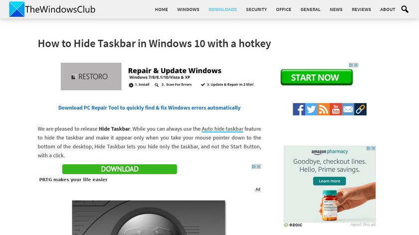 Hide Taskbar Landing Page