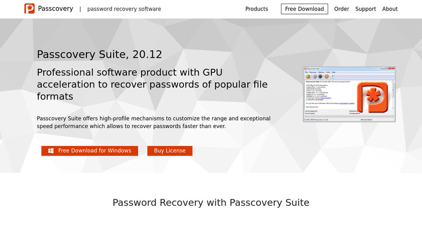Passcovery Suite Landing Page