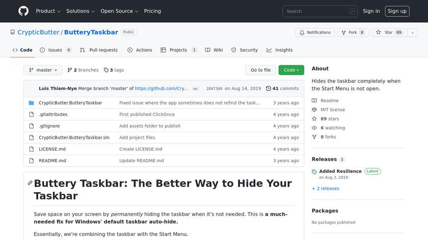 Buttery Taskbar Landing Page