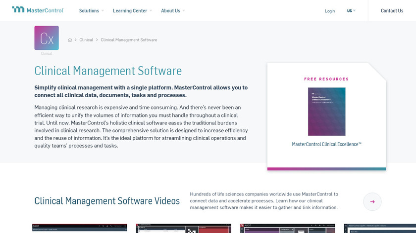 MasterControl Clinical Suite Landing Page