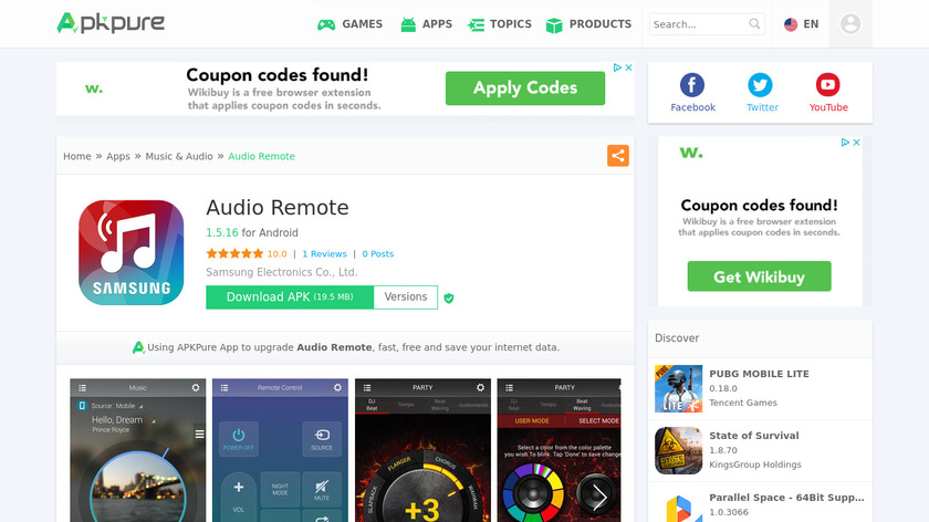 Audio Remote by Samsung Landing Page