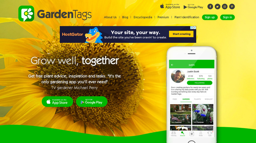 Garden Tags Landing Page
