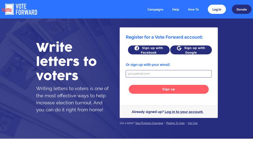 Vote Forward Landing Page