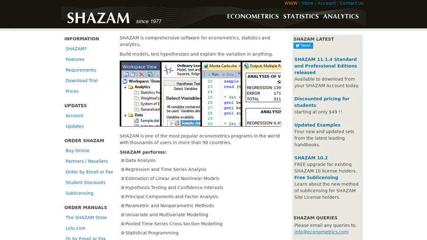 SHAZAM (statistical analysis) Landing Page