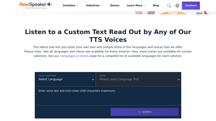 Narrator's Voice Text-to-Speech (TTS) Landing Page