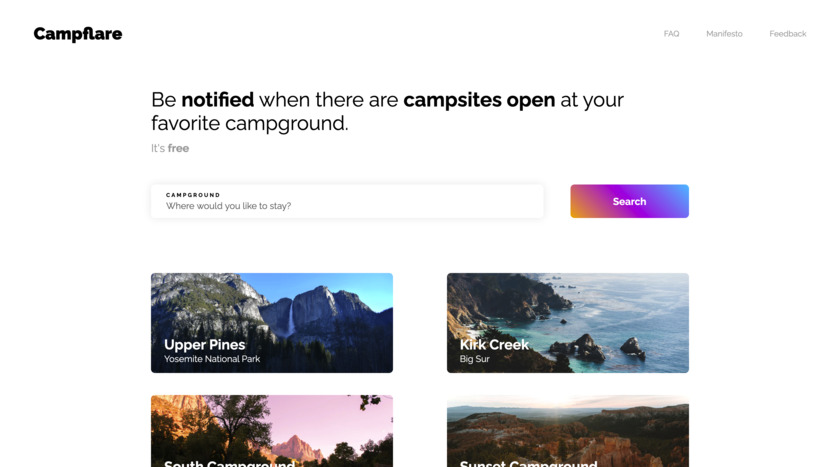 Campflare Landing Page