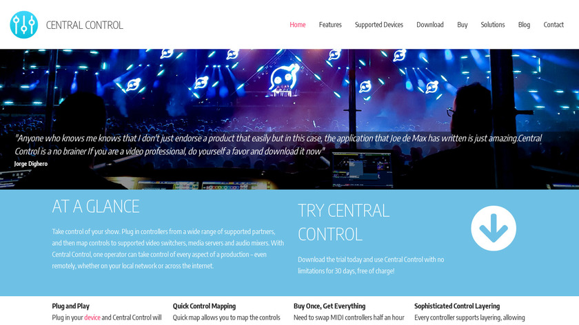 Central Control Landing Page