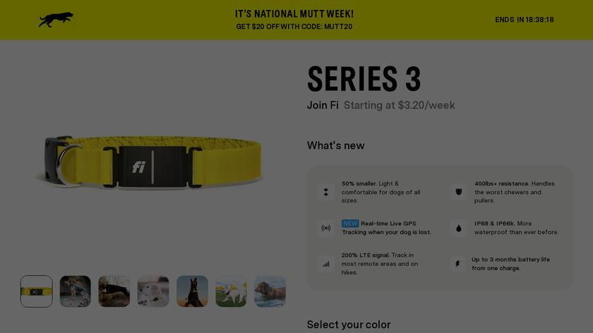 Fi Smart Dog Collar Landing Page