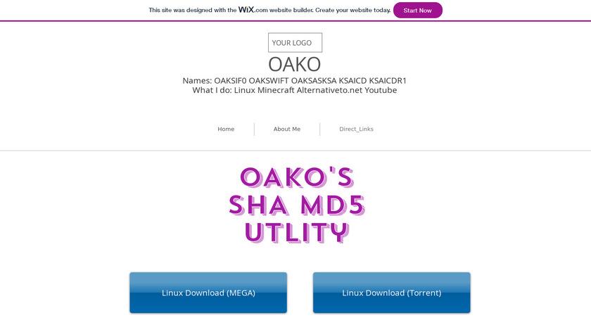 OAKO's SHA MD5 Hash Utility Landing Page