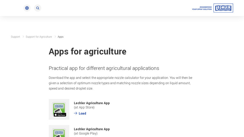 Lechler Agriculture Landing Page