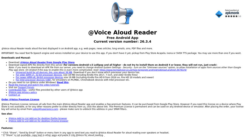 @Voice Aloud Reader (TTS Reader) Landing Page