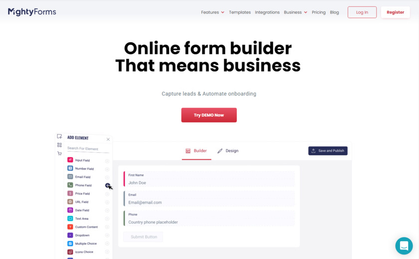MightyForms Landing Page