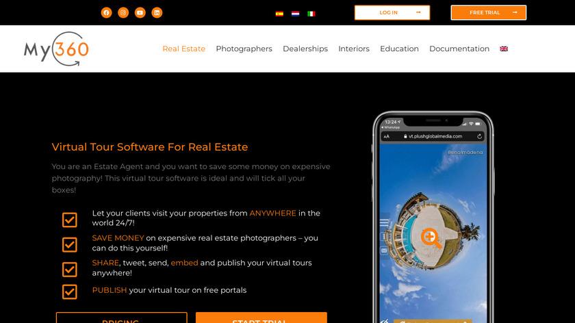 My360 Virtual Tour Software Landing Page