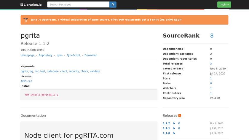 pgRITA Landing Page
