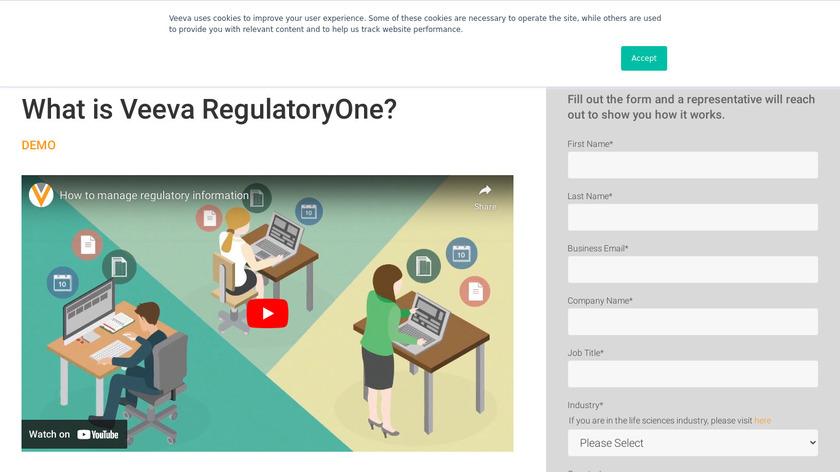 Veeva RegulatoryOne Landing Page