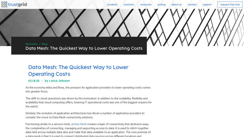 Trustgrid Data Mesh Platform Landing Page