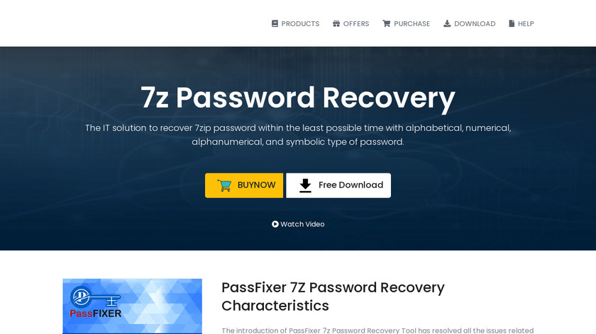 PassFixer 7z Password Recovery Landing Page