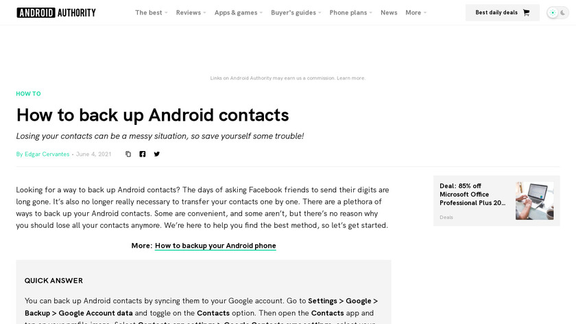 Contact Backup For Android Landing Page