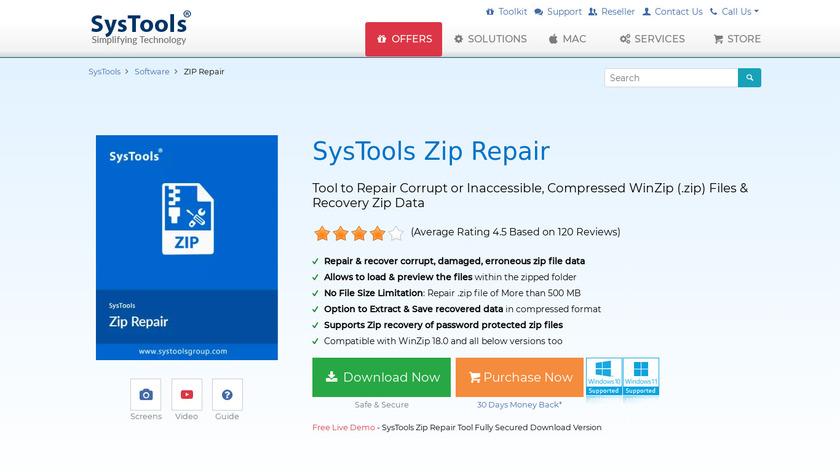 SysTools Zip Repair Landing Page
