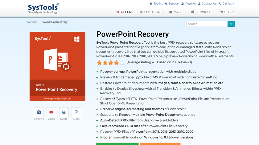 SysTools Powerpoint Recovery Landing Page