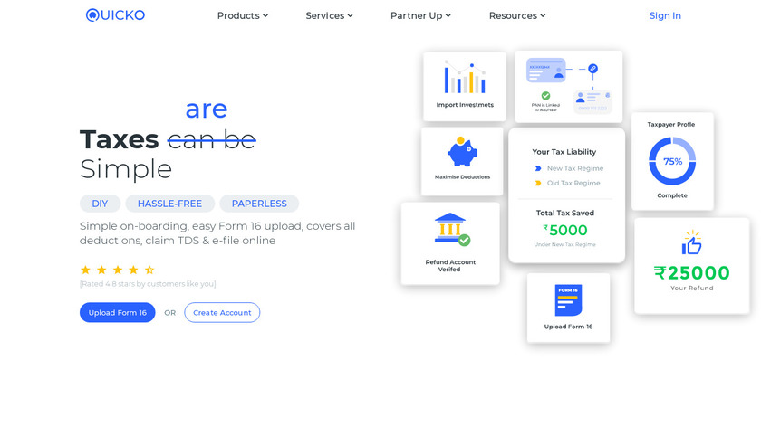 Income Tax by Quicko Landing Page