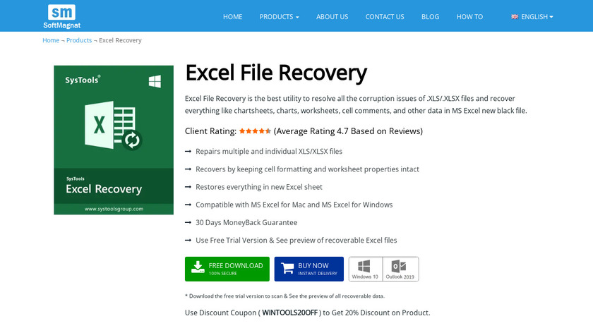 Softmagnat Microsoft Excel Recovery Landing Page