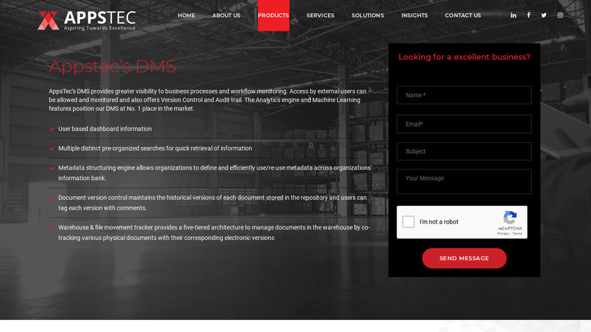 AppsTec DMS Landing Page
