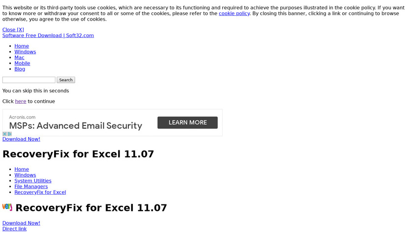RecoveryFix for Excel Landing Page
