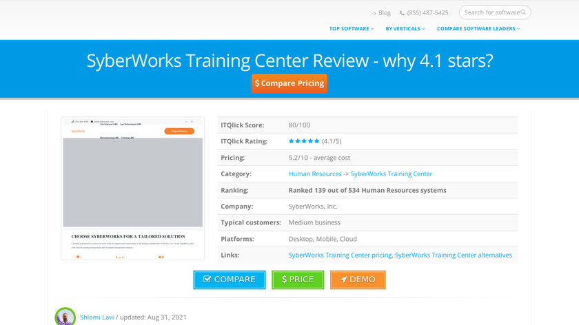Syberworks Training Center Landing Page