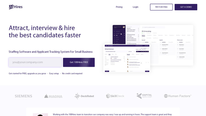 100Hires Landing Page