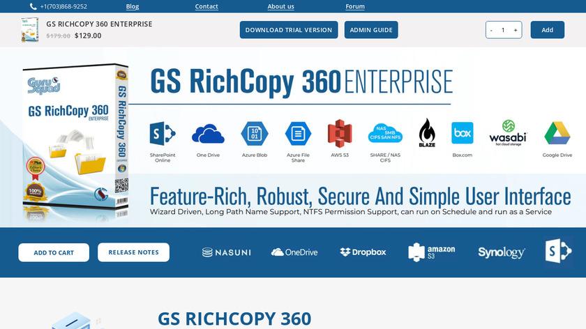 GS RichCopy 360 Enterprise Landing Page