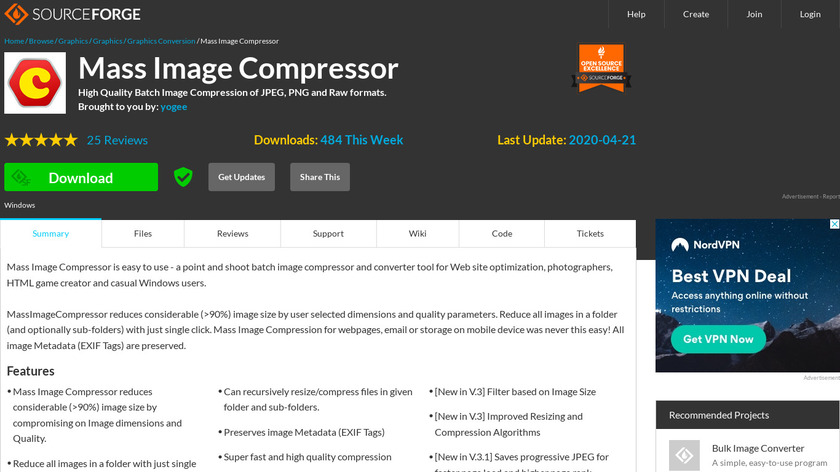 Mass Image Compressor Landing Page