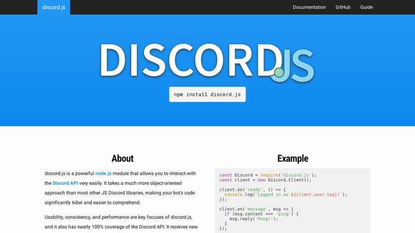 Discord.js Landing Page