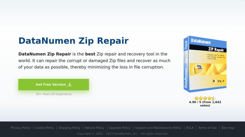 DataNumen Zip Repair Landing Page