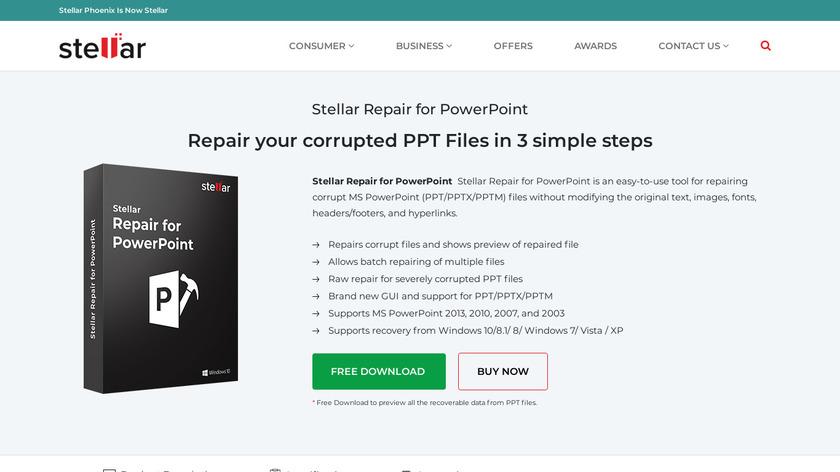 Stellar Phoenix PowerPoint Repair Landing Page
