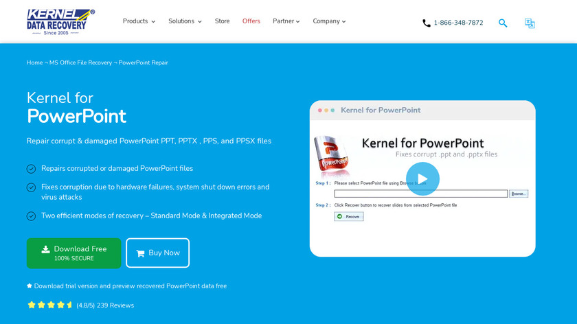 Kernel Recovery for PowerPoint Landing Page