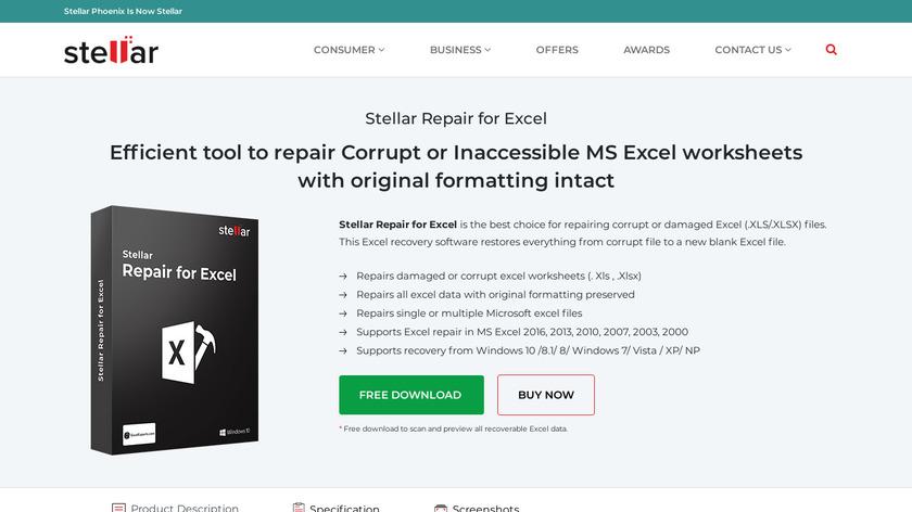 Stellar Phoenix Excel Recovery Landing Page