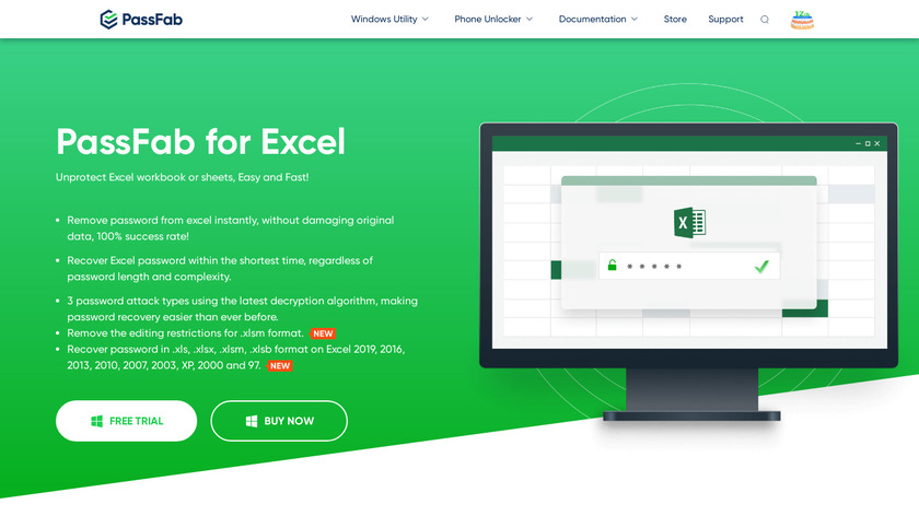 PassFab for Excel Landing Page