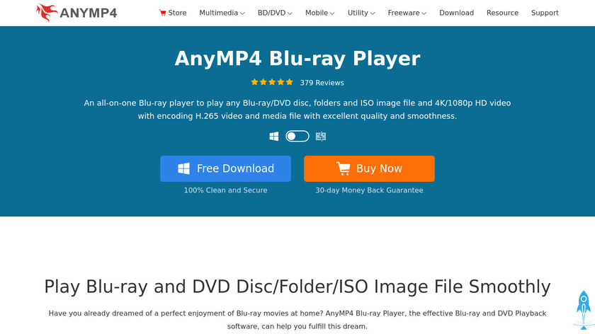 AnyMP4 Blu-ray Player Landing Page