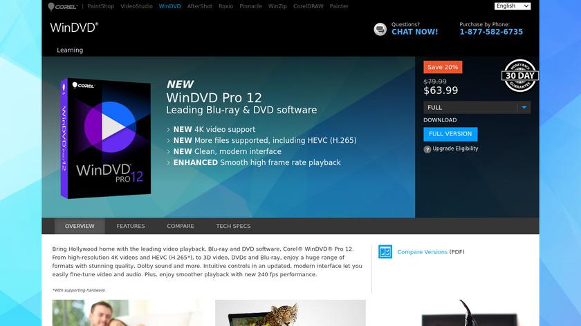 Corel WinDVD Pro Landing Page
