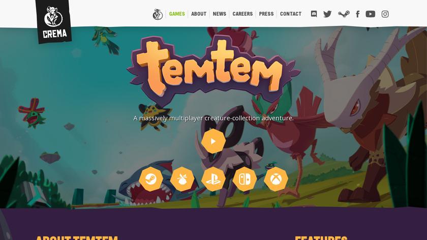 Temtem Landing Page