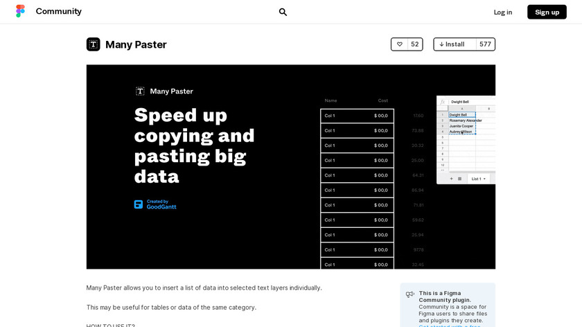 Many Paster for Figma Landing Page