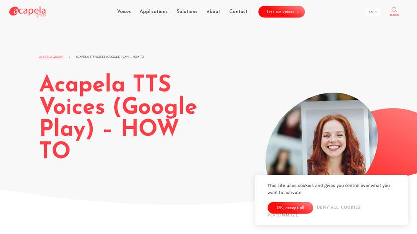 Acapela TTS Voices Landing Page