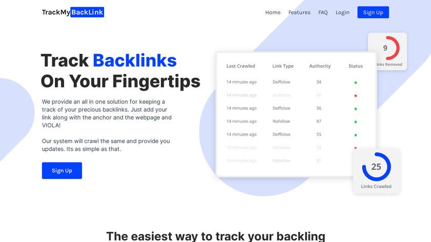 Track My Backlink Landing Page