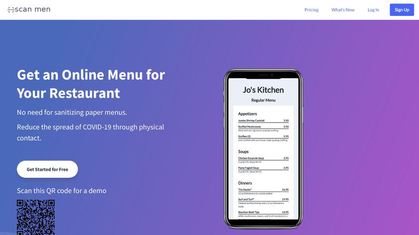 Scan Menu Landing Page
