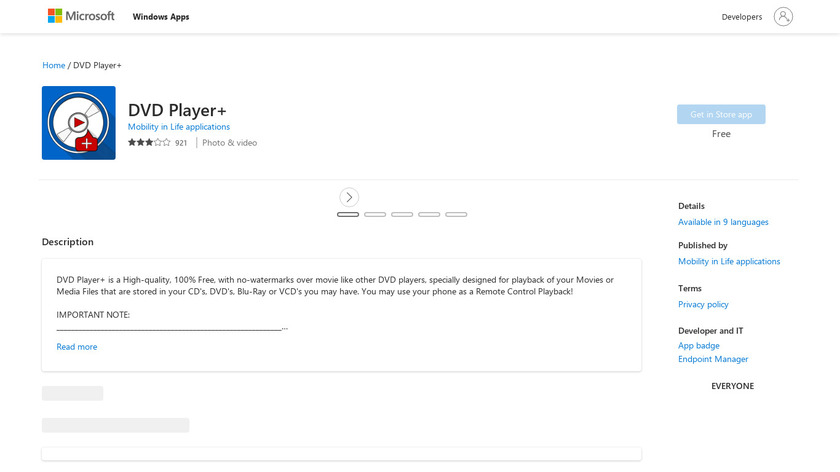 DVD Player+ Landing Page